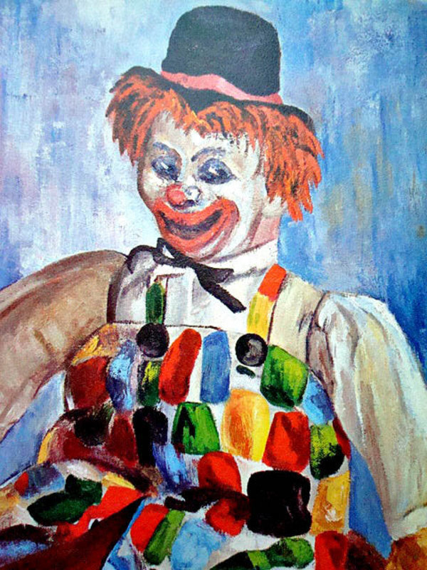 Another Colorful Clown Print by Michele c. 1960's