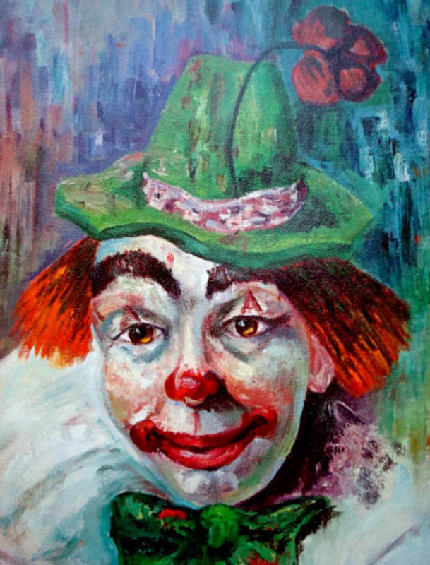 Vintage Colorful Clown Print by Michele c  1960's