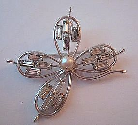 Vintage Sterling Pearl Rhinestone Flower Pin 1950's