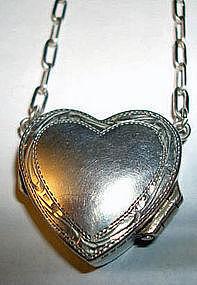 Vtg Sterling Heart Locket London Opens HALLMARKS