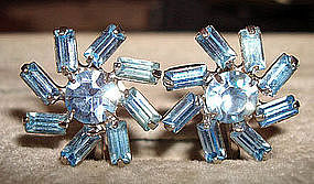 Aquamarine Rhinestone Screwback Earrings c. 1950s