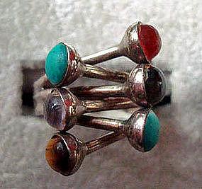 Silver Turquoise Quartz Tiger Eye,Onyx Ring TAXCO