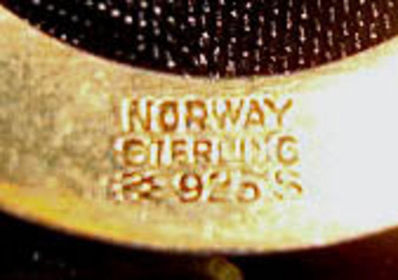Sterling Vermeil Enamel Yellow Brooch Holmsen Norway