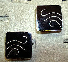Large Sterling Enamel Cuff Links BETO Mexico Taxco