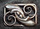 Sterling Foliate Brooch Pin Signed Denmark Maker's Mark