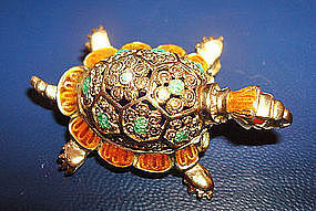 Fine Sterling Vermeil Enamel Turtle Pin by Caviness