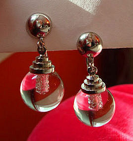 Deco Lucite Bulb Screwback Drop Earrings by Coro