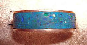 Vintage Taxco Mexico Silver Ring Azur-malachite Stone