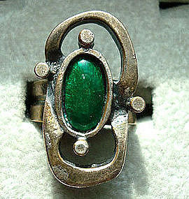 Mod Design Silver Ring with Green Glass Cabochon