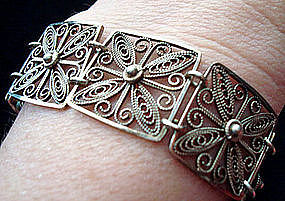 Lovely Silver Filigree Openwork Square Link Bracelet