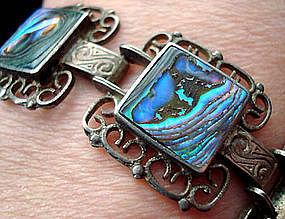 Decorative Silver Abalone Link Bracelet c. 1940's