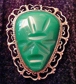 Large Sterling Taxco Mexico Aztec Mask Brooch Pendant