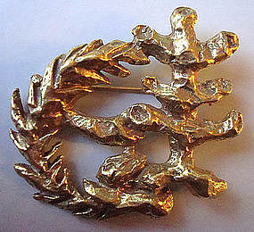 Lipchitz Signed Brooch Bronze Olive Tree