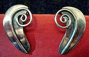 Sterling Silver Mod Earrings Taxco Mexico Signed