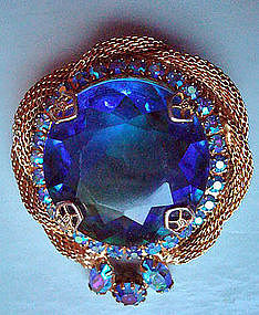 Vintage Cobalt Blue Diamond Cut Stone Brooch c. 1950's