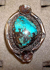Vintage Navajo Sterling Silver Turquoise Ring Signed