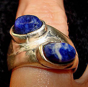 Mod Sterling Ring TAXCO MEXICO Lapis Blue Stones