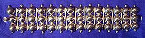Mexican Sterling Wide Link Disk Bracelet  Signed
