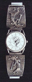 Vintage Kokopelli Watch Sterling Silver Signed