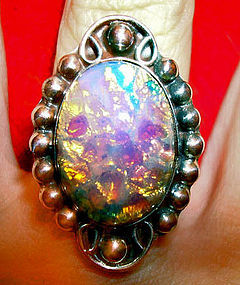 Vintage Sterling Silver Fire Opal Ring Taxco Mexico
