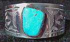Vintage Navajo Turquoise Silver Cuff Bracelet Signed By Artist 1975