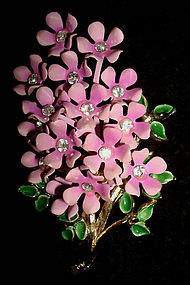 Pink Enamel Bouquet of Flowers Rhinestones c. 1950's