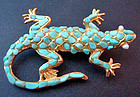 Vintage Turquoise and Pearl Lizard Pin / Brooch
