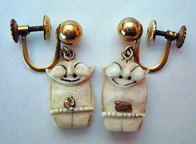 Vintage Billiken 14K Gold Ivory Earrings Signed