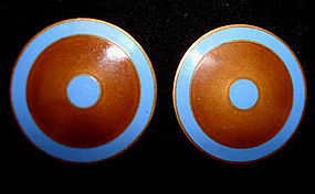 Large Blue Enamel and Brass Clipback Disk Earrings