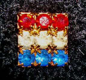 Red White and Blue Shiny Rhinestone Tie Pin c.1960s