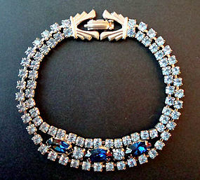 Vintage Sapphire Aquamarine Bracelet c. 1950s