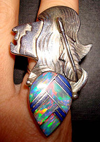 Huge Native American Navajo Sterling Opal Ring
