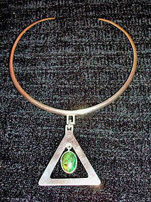 Sterling Taxco Choker Large Pendant w/ Dangling Stone