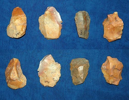 4 Native American Paleolithic flake cores