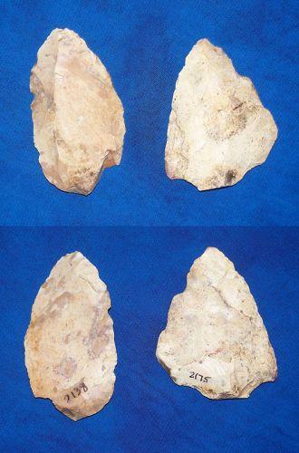 2 Native American Partial Biface Convergent Scrapers