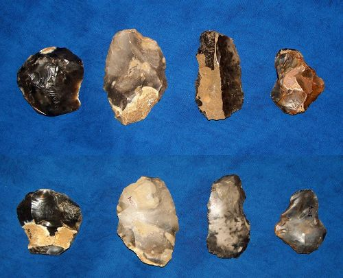 3 English Mesolithic Flake Tools and 1 Core
