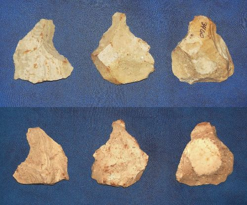 3 Neanderthal Notched Scrapers on Flakes.