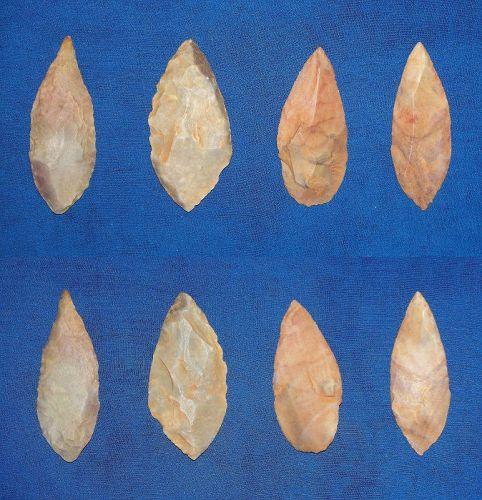 Four Neolithic Sahara Willow Leaf Blades