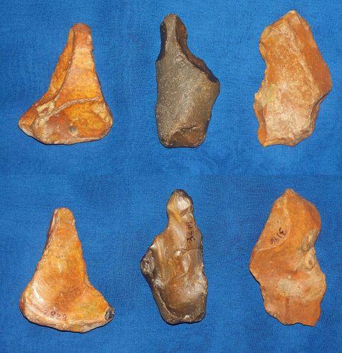 3 Neanderthal Scrapers/Burins from Reculver, Kent, UK