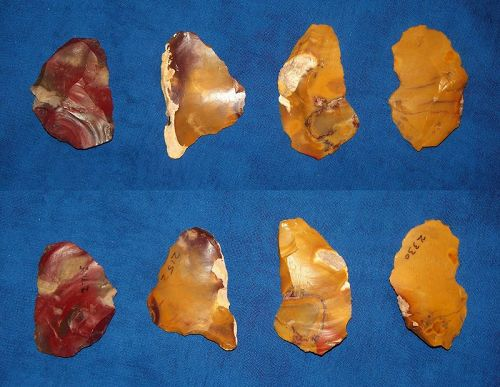 Four Neanderthal Scrapers on Flakes