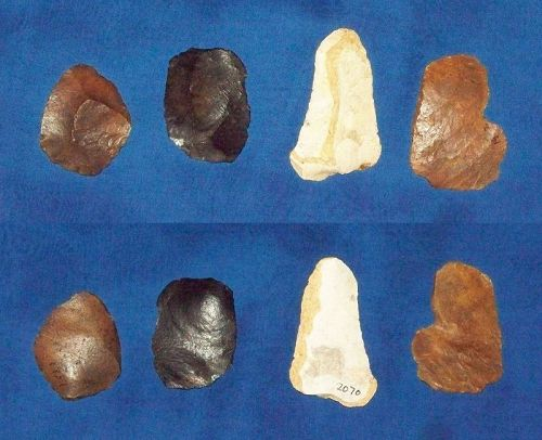 Four Native American Paleolithic Tools on Flakes
