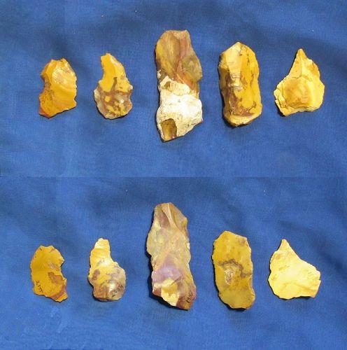 Five Neanderthal Flake Tools