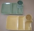 Vintage Yellow and Green Snack Trays with Cups.