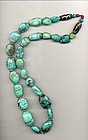 Tibetan Turquoise Bead Necklace with 2 Glass dZi Beads