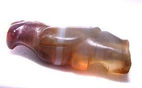 Carved Pyu Bird Agate Pendant Bead - 100 - 500AD
