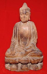 Rare Chinese Wooden Buddha -  Yuan 13th C.