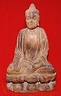 Rare Chinese Wooden Buddha -  Yuan 13th C.