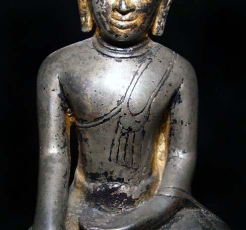 Silver Bronze Burmese Buddha - Ava Period 16th Century