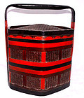 Chinese Bamboo Lacquer Food Basket - 19th C.