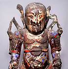 Chinese Ming Wooden Statue of War God KuanTi - 16th Century